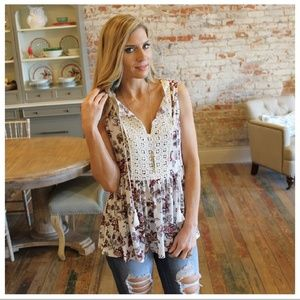 Ivory Floral Crochet Boutique Top